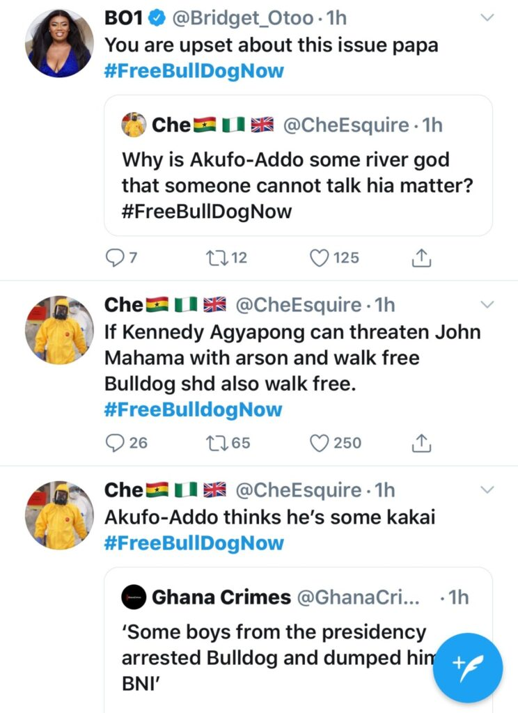 """NDC Faithfuls call for Bulldogs release with """"Free Bulldog Now"""" Hashtag on Twitter.   NobAfrica"""